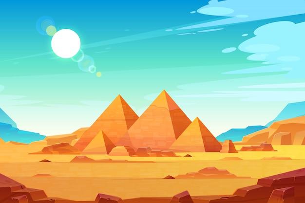 ギザ台地の風景、エジプトのファラオのピラミッド複合体が点灯