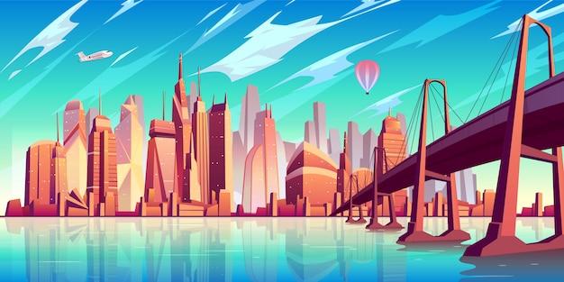 水の上の吊り橋とサンフランシスコ湾の風景漫画