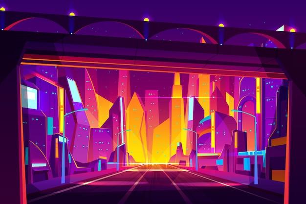 近代的な大都会の夜の街の漫画。