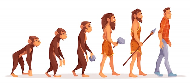 Самец обезьяны, ходячий примат, доисторический охотник каменного века с примитивным инструментом и оружием