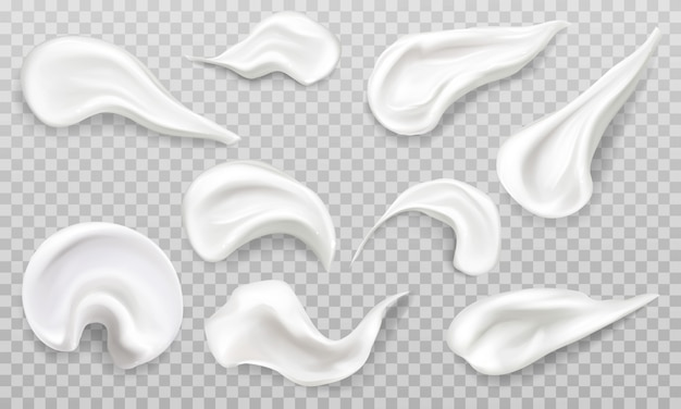 ホワイトクリームは見本セットを塗ります。化粧品美容スキンケア製品のストローク