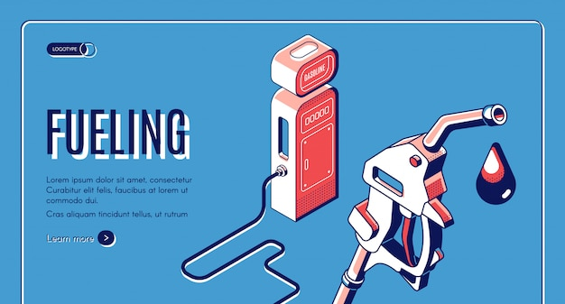 Заправка, газ, бензин, дизельная станция, изометрическая веб-баннер.