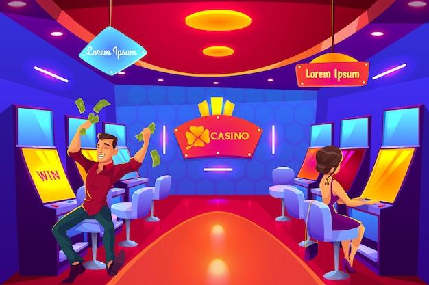 スロットマシンで遊んでいるカジノでギャンブルをしている人、勝っている人、負けている人、お金を使う人。