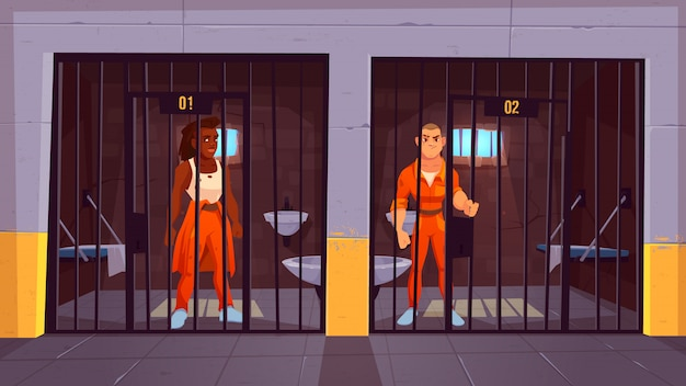 刑務所の囚人セルのオレンジ色のジャンプスーツの人々。金属棒の後ろに立っている男性キャラクターを逮捕刑務所での生活。警察、室内インテリア。漫画のベクトル図