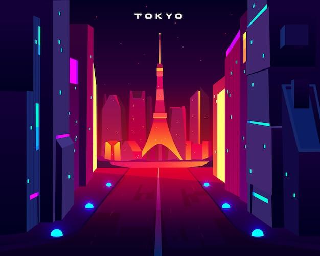 ネオン照明でスカイツリーテレビ塔を望む東京市街の夜景。