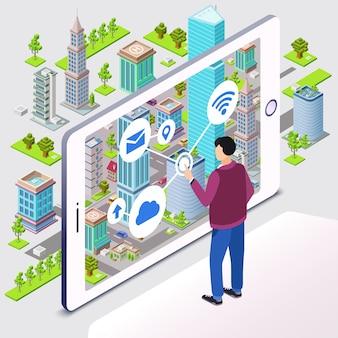 スマートシティ。居住用のスマートシティインフラストラクチャーを備えたマンユーザーとスマートフォン
