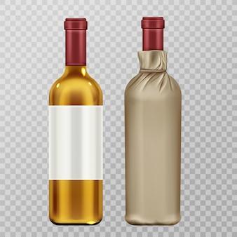 透明で分離されたクラフトペーパーパッケージセットのワインボトル