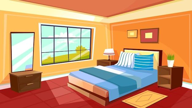 漫画のベッドルームのインテリアの背景テンプレート。朝の光の中で居心地の良いモダンなハウスルーム