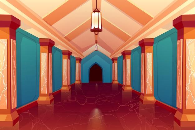城の列の空の廊下のインテリア