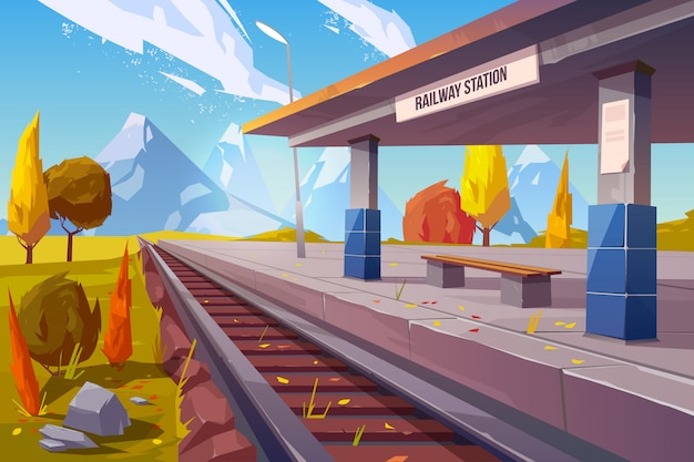 山の秋の風景の鉄道駅