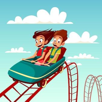 ローラーコースターに乗っている子供たち。少年と少女はジェットコースターで速く乗っています。