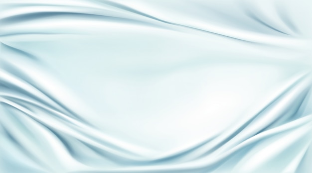 青い絹のドレープ生地背景、テキスタイルフレーム