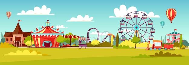 漫画のアトラクションの乗り物とサーカスのテントの遊園地。