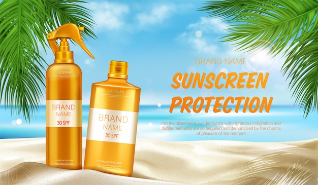 日焼け止め保護紫外線化粧品バナー、夏