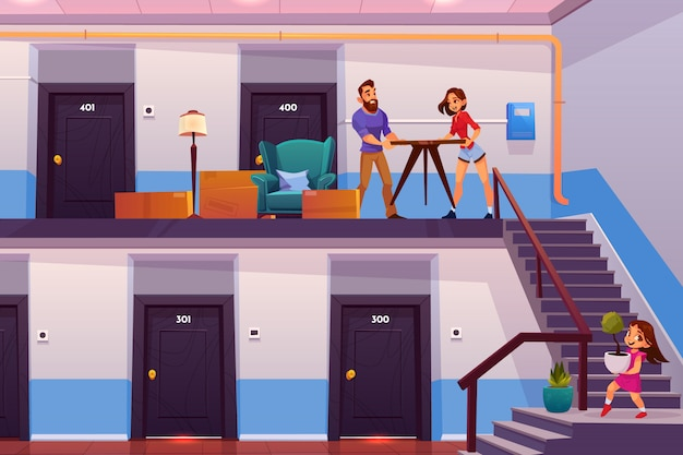 家族が新しいホーム漫画ベクトル概念に移動