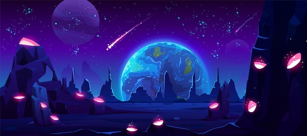 Вид земли ночью с чужой планеты, неонового пространства