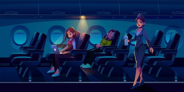 夜の図で飛行機