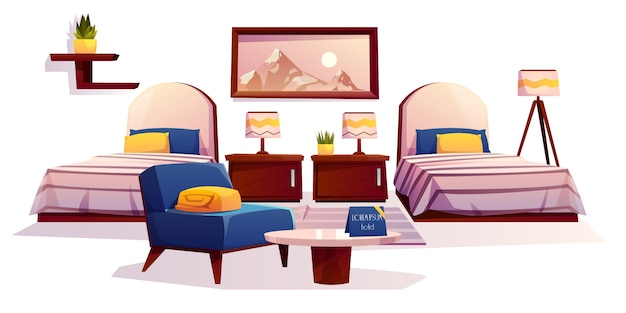 ホテルの寝室の家具、アパートのインテリア