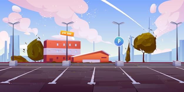 市駐車場の空のロット漫画
