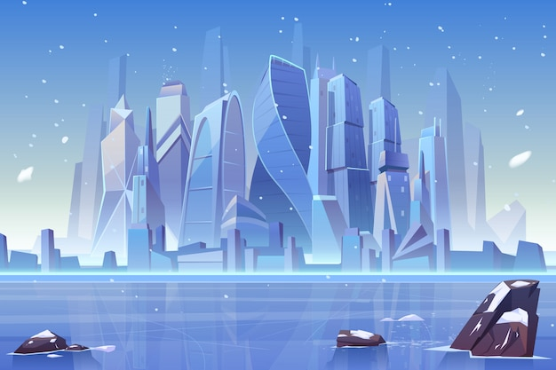 Зимний город в замерзшей бухте