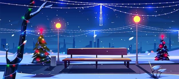 夜の公園でのクリスマス