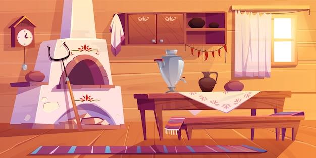 ロシアのストーブとサモワールのイラスト