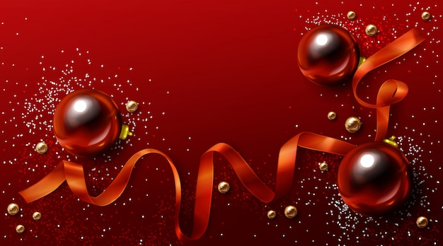 Красный и золотой новогодний фон, фон рождественские праздники