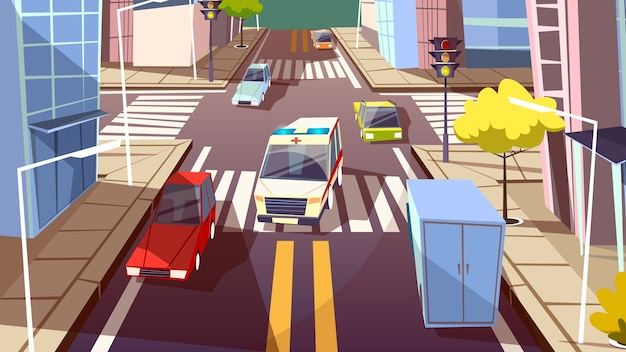 都市の通りと救急車の車のイラスト。漫画都市交通道路