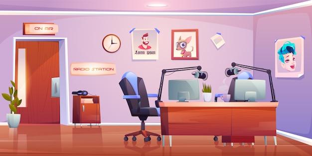 Интерьер студии радиостанции, дизайн пустой комнаты