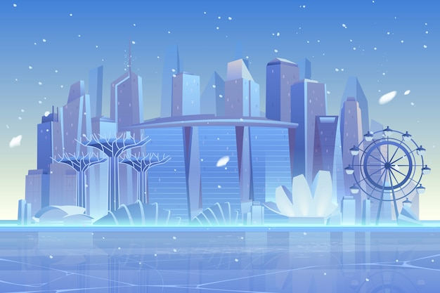 Зимний городской пейзаж в замерзшей бухте, архитектура
