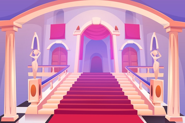 城の階段、宮殿の入り口で上向きの階段