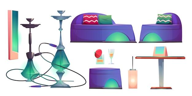 シーシャ水ギセルバーセット、喫煙スタッフ用カフェ