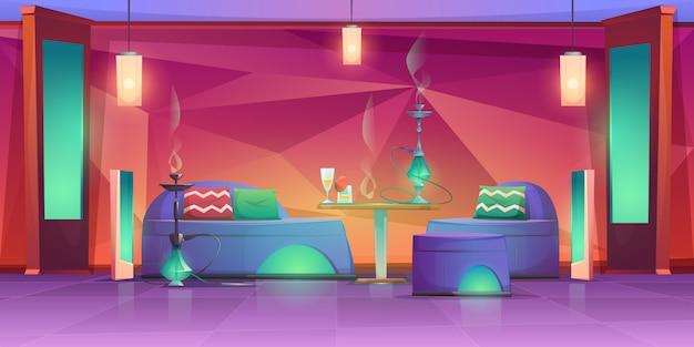 シーシャ水ギセルバーインテリア、喫煙のための空のカフェ