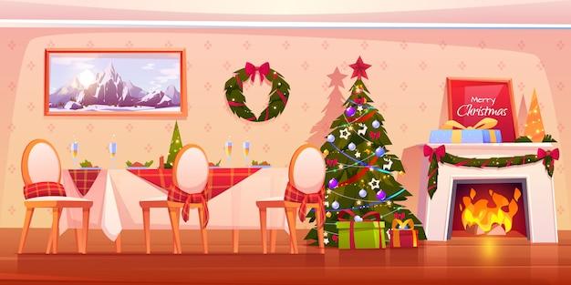 暖炉のイラストと家族のクリスマスディナーシーン