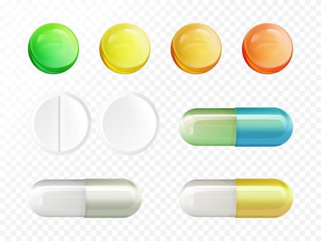 Реалистичные медицинские препараты - цветные и белые круглые таблетки и капсулы