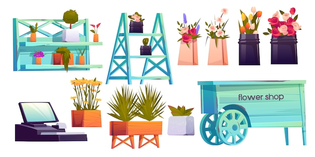 Набор элементов цветочного магазина