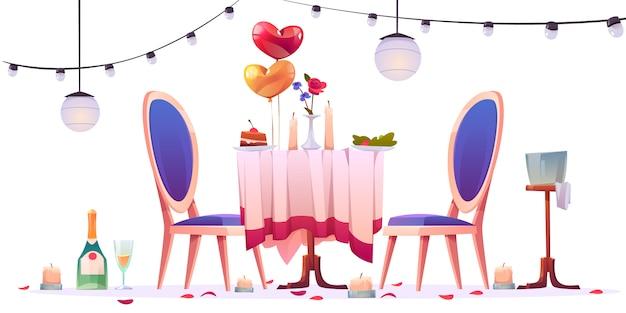 ロマンチックなデートの図の後のレストランのテーブル