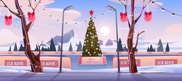 イルミネーションとお祝いつまらないイラストで飾られたモミの木とクリスマスアイススケートリンク