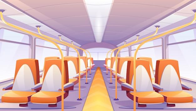 オレンジ色の座席と空のバス
