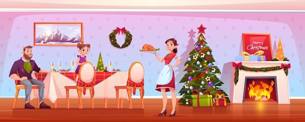 Счастливый семейный рождественский ужин, празднование праздника