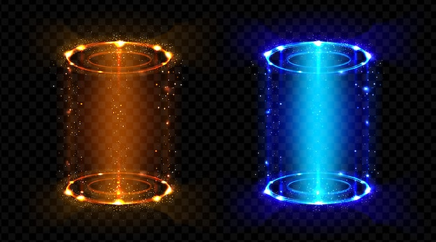 魔法のポータルファンタジー未来的なホログラムテレポート