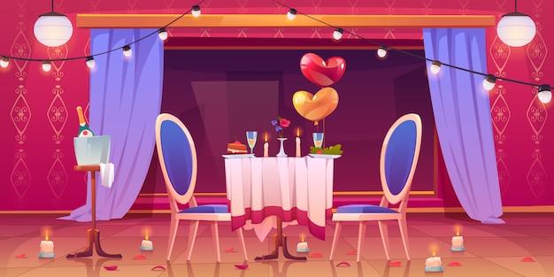 バレンタインのロマンチックなデートディナーのレストランのテーブル