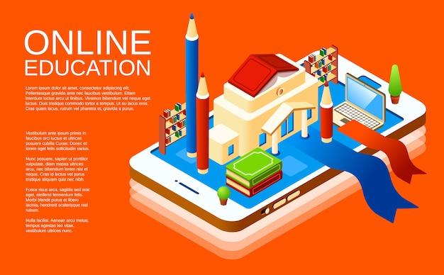 オレンジ色の背景にオンライン教育モバイルアプリケーションのポスターデザインテンプレート