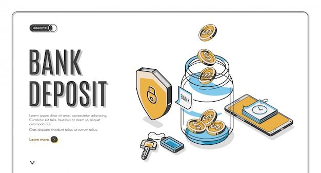 Изометрическая целевая страница банковского вклада, долларовые монеты падают в стеклянную банку со щитом, ключами и мобильным телефоном, инвестиции увеличивают экономию денег