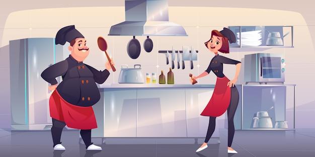 キッチンでシェフとスーシェフ。レストランのスタッフ