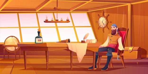 Пиратский капитан в передней части каюты корабля