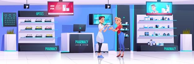 Фармацевт обслуживает клиента в аптеке с оптикой