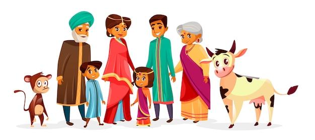 ヒンドゥー教の民族服を着たインド人の家族。漫画のインディアンキャラクター