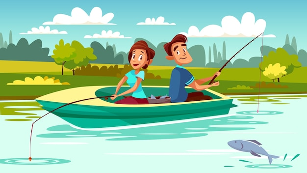 Пара рыбалка иллюстрации молодой человек и женщина в лодке с удилищем на озере
