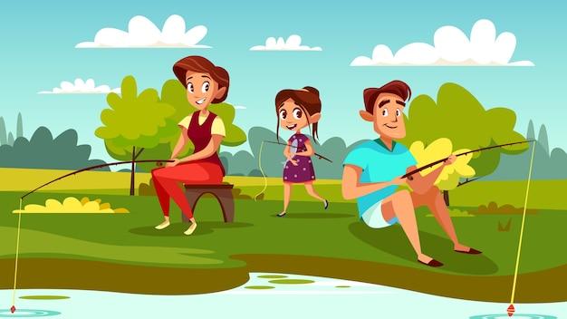 週末の休暇の母親、父親、娘の家族漁業のイラスト。